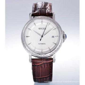 Relógio de pulso mecânico de aço inoxidável de moda para homens