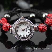 Vente en gros White Crystal Shamballa bling bling montre bracelet