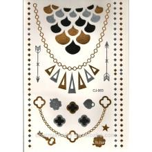 OEM Femmes Bracelet Feuille Temporaire Tatouage Sex Product Metallic Silver Gold Tattoos J003