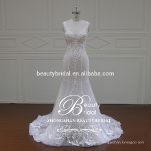 новый дизайн русалка образный украшения свадебное платье,V-образный вырез & сердца назад свадебное платье ZSS001