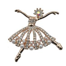 Мода маленькая балерина Посеребренная CZ горный хрусталь жемчуг брошь