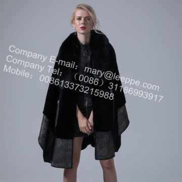 호주 여자 Merino Shearling Cape Coat