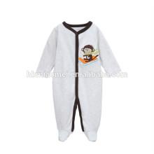Органический хлопок детские ромер одежда серого цвета зима длинный рукав вышитые мультфильм ребенка ползунки