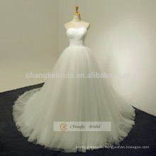 Elegant Sweetheart Strapless White Lace Wedding Dress With Chapel Train