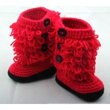 Baby Girl Newborn Handmade Crochet Tricot Red Booties Shoes