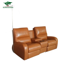 2 Seater Reclining Recliner Top Grain Leather Home Theater Sofa with Storage Box Recliner