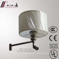 European Hotel Decorative Brushed Brass Bedside Wall Lamp