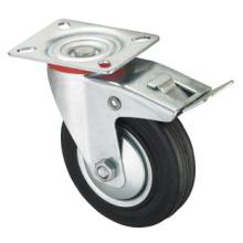 Roulette de la série Middle Duty - pivotante avec frein - caoutchouc industriel noir (roulement à rouleaux)