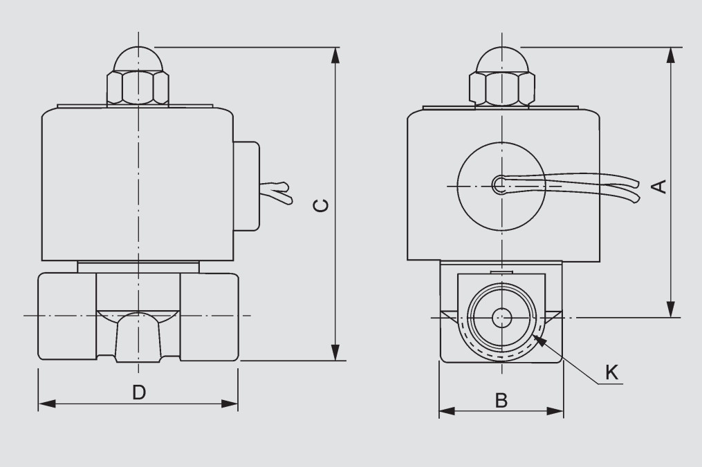2W250-25 Direct-acting Solenoid Valve Dimension Drawing: