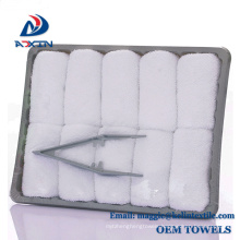 Plain white disposable hot towels in a tray 100% cotton airline hand towel Plain white disposable hot towels in a tray 100% cotton airline hand towel