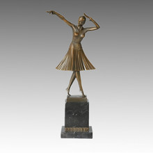 Estatua del bailarín Lady Milo Bronze Escultura, DH Chiparus TPE-190
