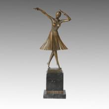Dancer Statue Lady Milo Bronze Sculpture, D. H. Chiparus TPE-190