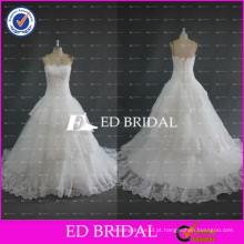ED Bridal High Quality Strapless Lace Appliqued Organza Vestidos de casamento Vestidos de noiva