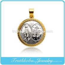 Diseño por encargo de fundición de forma redonda Pure Mary Mother y Cruz colgante de acero inoxidable joyería collar colgante significativo