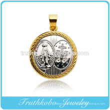 Custom Made Design Casting Forme ronde Pure Mary Mère et pendentif croix en acier inoxydable bijoux pendentif significatif collier