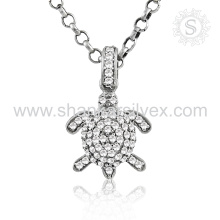 Brighness Fashion Jewelry Turtle White CZ Pendant 925 Bijouterie en argent Jewelry Export Indian Jewelry