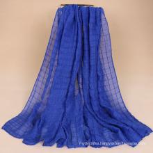 New style fashion Crinkle hijab scarf dubai cotton pleated plaid hijab scarf