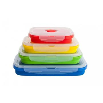Armazenamento de alimentos Silicone Folding Lunch Box Set