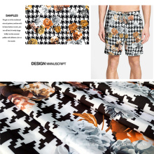 Polyester Wovern Blushed Flower Printed Fabric for Beachwear