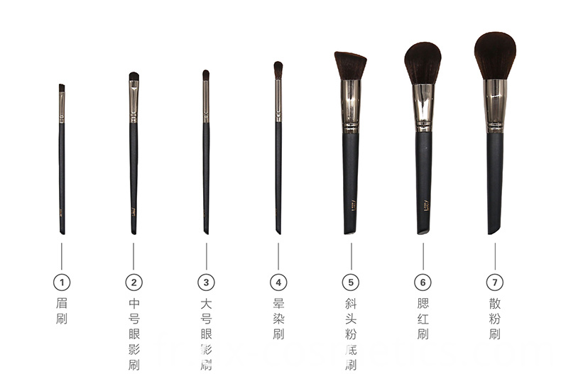 7Pcs Black Cosmetic Makeup Brush Set Imitation Wool Hair 3