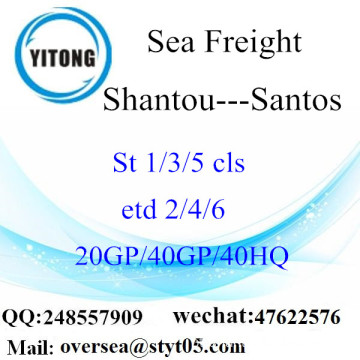 Shantou Port Sea Freight Shipping para Santos