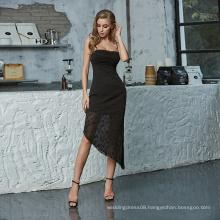 Weixin Womens Clothing Drape Neck Ruched Detail Jacquard Midi Chiffon Dresses