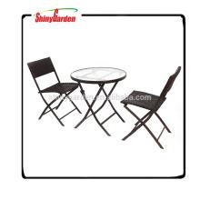 Rattan Strand Ess-Set, Rattan Gartenmöbel zum Verkauf, Stahl Rattan Klappstuhl-Set