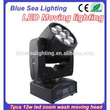 7pcs 12w RGBW 4in1 светодиодный мыть движущейся головной свет с зумом