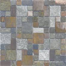 Rusty Slate Mosaic, Mosaic Tile, White Marble Tile, Glass Mosaic