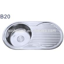 Newest kitchen products of round kitchen sink with drainboard
