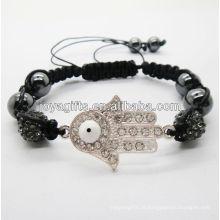 Pulseira tecida das vendas quentes 2013 shamballa de Hamsa tecido bracelete com cristal do balck