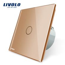 Livolo Commutateur Électrique Norme UE 220V / 50 ~ 60Hz De Luxe Cristal Or Panneau En Verre Interrupteur Éclairage Murale Pour La Maison VL-C701-13