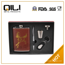 8oz high quality stainless steel leather wrapped hip flask business gift set for men