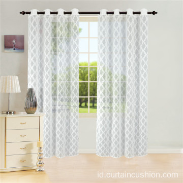 Polyester Geometris Semitransparan Voile Sheer Curtain