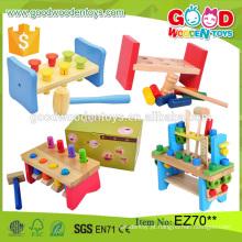 2016 Novo Design Kids Educational Wooden Tool Toy Set Pounding Bench Children Toy Direto da China