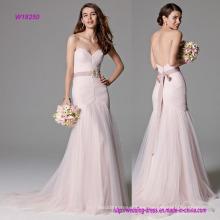Vestido de novia de sirena rosa de lujo
