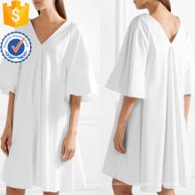 Негабаритных Белый хлопок V-образным вырезом мини летнее платье Производство Оптовая продажа женской одежды (TA0297D)