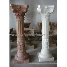 Pilar griego con arenisca de granito de mármol de piedra (QCM086)