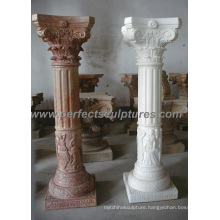 Greek Pillar with Stone Marble Granite Sandstone (QCM086)