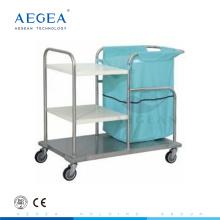 AG-SS018 trois couches vêtements médicaux acier instrument hôpital chariots à linge