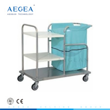 AG-SS018 movable metal frame 3 layer hospital washing machine trolley