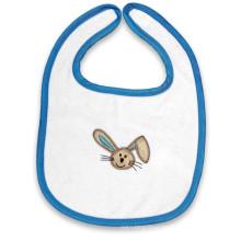 White Cartoon Embroidered Cotton Rabbit Custom Baby Terry Bib