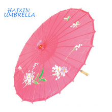 Quick Delivery Wedding Favors Gifts Flowers and Birds Drawing Straight Bamboo Frame Paper Parasols Pink Japanese Silk Umbrella