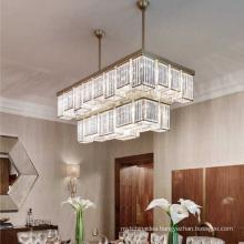 Modern K9 Crystal Gold Flush Mount Pendant Light Fixture Rectangle Chandelier for Living Room
