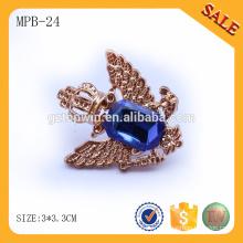 MPB24 Chine fabricant badge pin en métal de type cristal avec fermoir papillon pour vêtement personnalisé