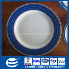 Синие бордюры ободок супер белый фарфор посуда сине-белые блюда