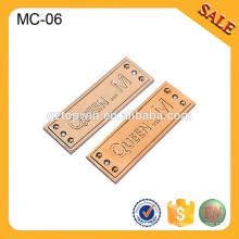 MC06 Etiquetas de la ropa del metal de encargo Etiqueta de la insignia de la marca de fábrica del metal para la ropa de la señora