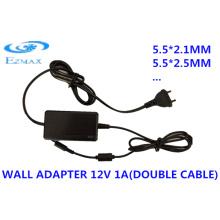 12V 2A Adaptador de parede de cabo duplo 5.5 * 2.1mm 5.5 * 2.5mm CCTV fonte de alimentação