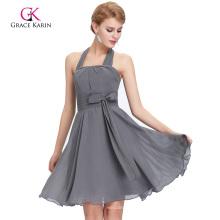 Grace Karin Halter Knee Length Chiffon Grey Bridesmaid Dress CL2290-2