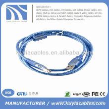 Câble d'imprimante USB 2.0 A Male to B de haute qualité transparent Bleu